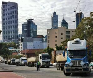 Tipper drivers bring city to a standstill